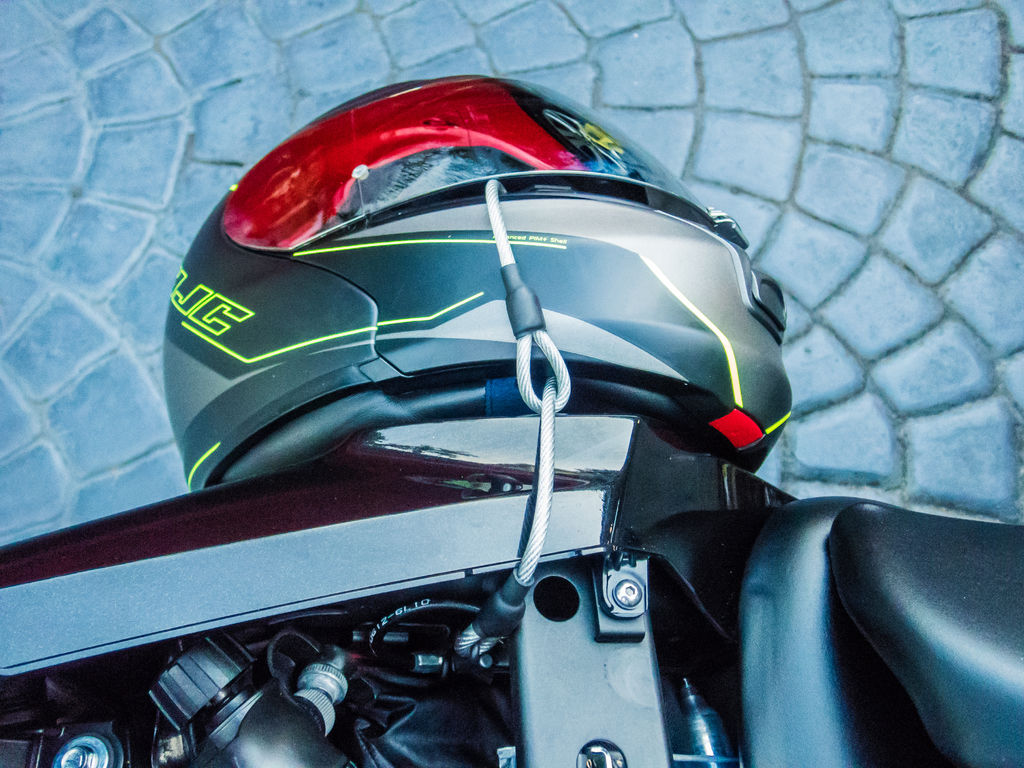 Motorcycle Helmet Lock Anti-Theft Tether Cable - Test the final product