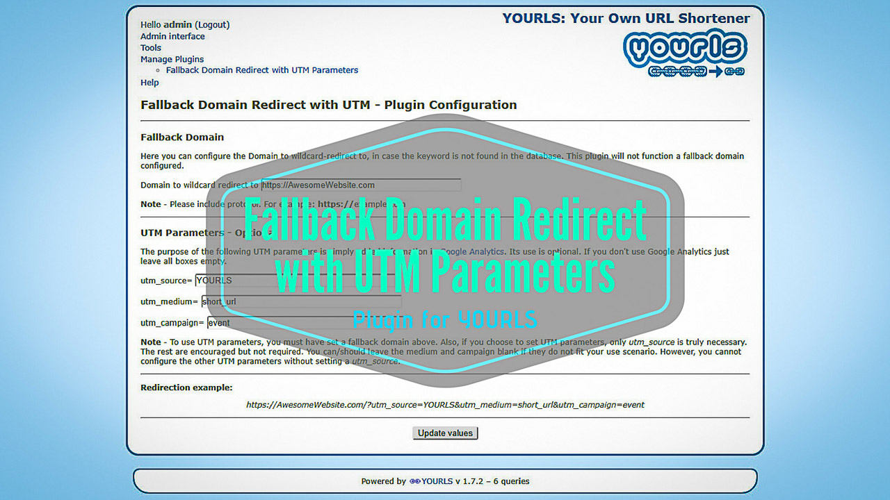 Fallback Domain Redirect with UTM Parameters - YOURLS Plugin - Title Thumbnail