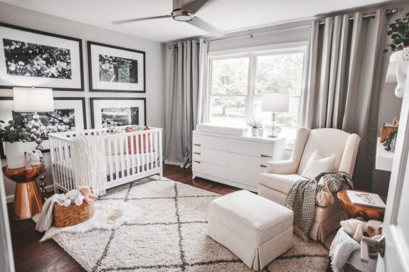 This traditionally gray nursery would suit absolutely any home and age. From meganburgesgilliam.com