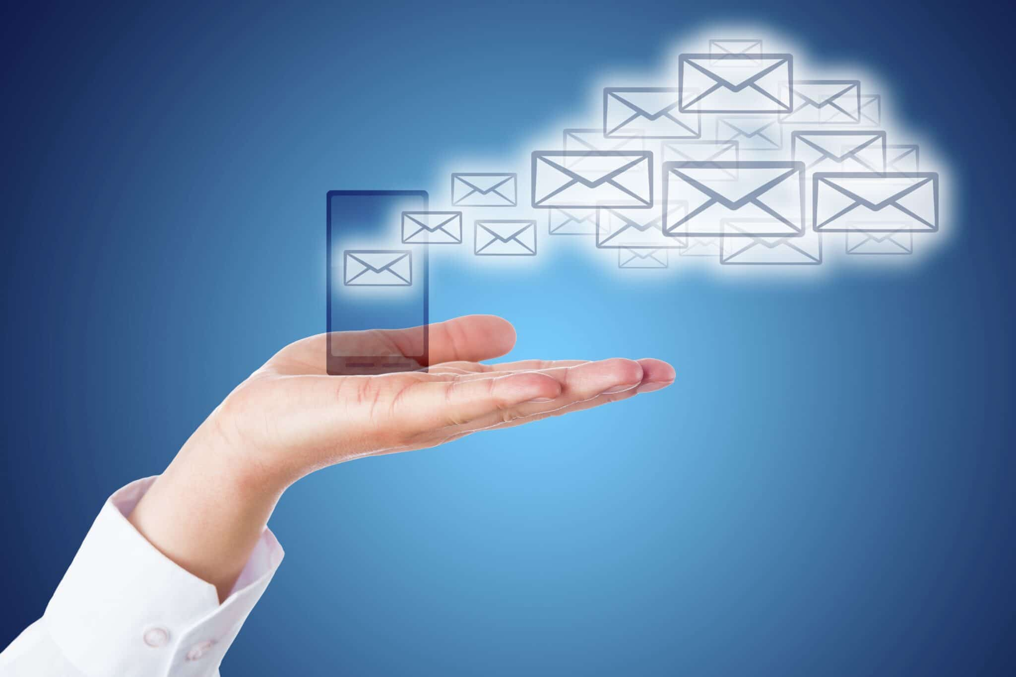 Email Cloud Leaving Smart Phone Over Blue Ground