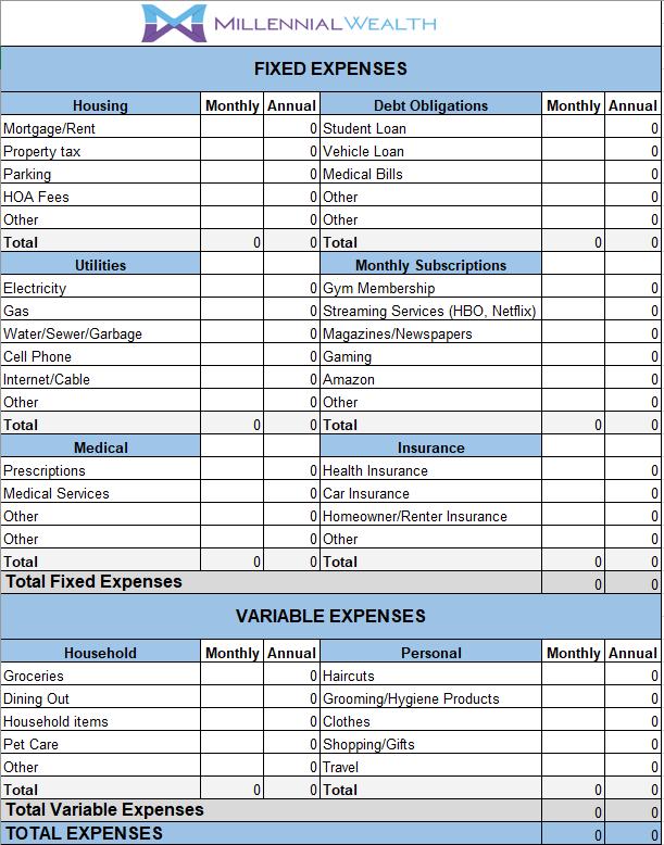 personal finances worksheet