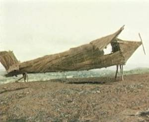 Bamboo and thatch plane used by Cargo Cult