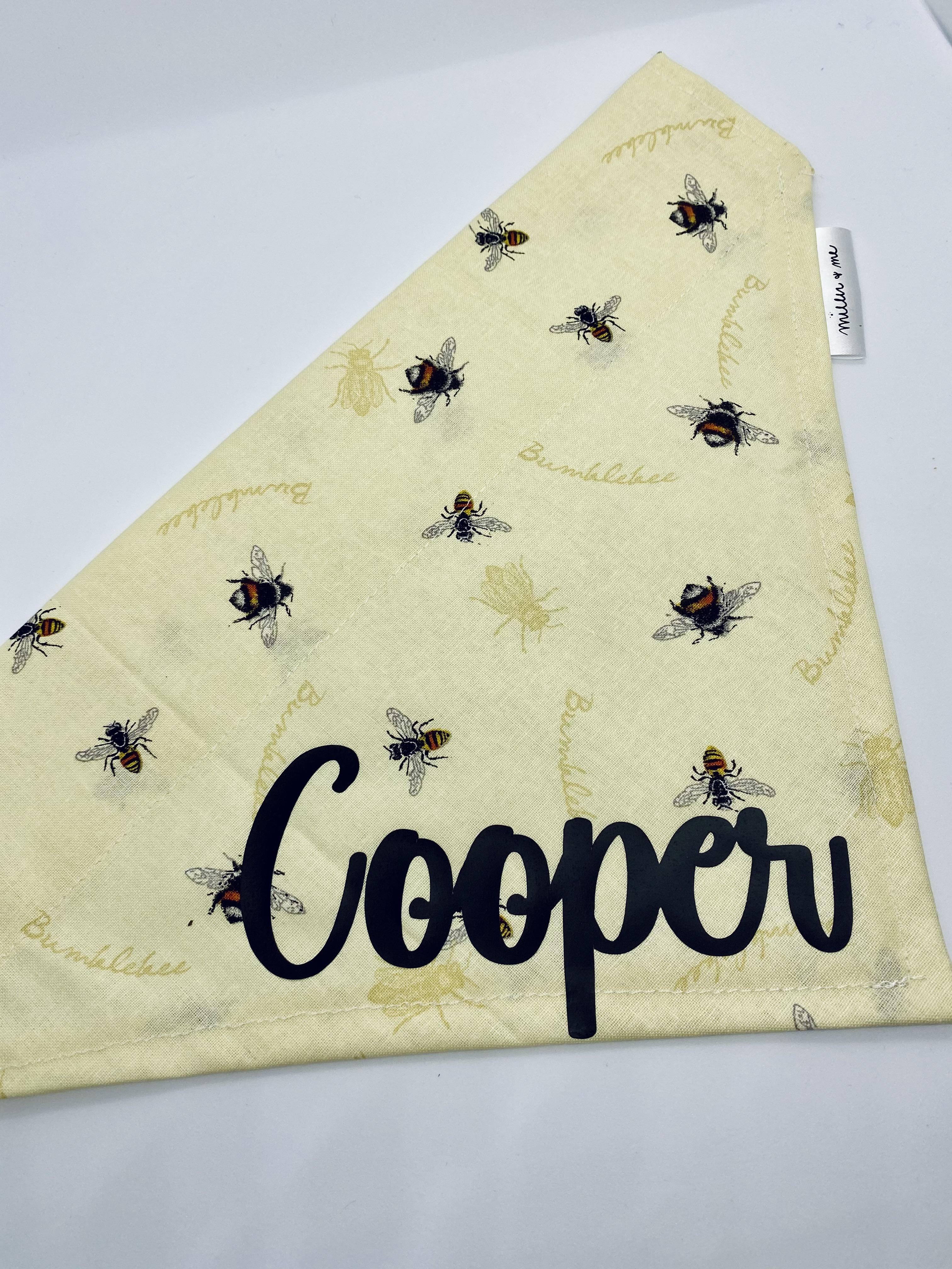 Sparkly Bumble Bees Over the Collar Dog Bandana Extra Small
