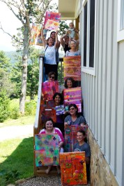 Retreat Participants showing off their colorful artwork!