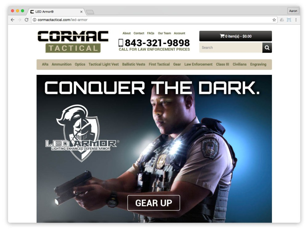 LED Armor landing page