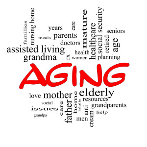 word block on aging, elderly,
