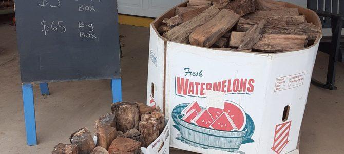 Seasoned Firewood. $5/box. $65/bin