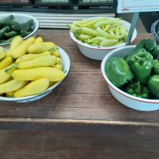 Summer Veggies are Starting to come in from our Fields!  And Peaches are here!
