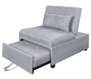 The Murpby Bed Lounger Sleeper Chair in grey is being opened by pulling the extension under the front of the seat out.