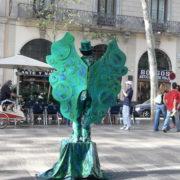 Barcelone, quartier des Remblas, Statue vivante