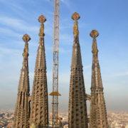 Barcelone, Sagrada Familia, les tours de la facade de la Nativité