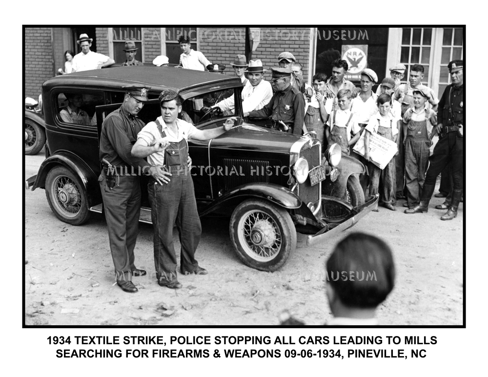 1934 Textile Strike, police stopping all cars leading to mills ...