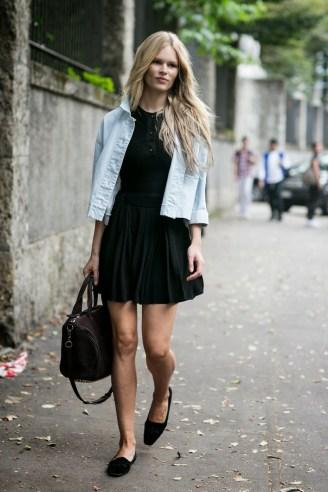 model-style-black-dress-denim-jacket-ballet-flats