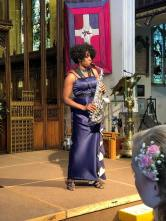 Millicent Stephenson Sax Abigail Michael Wedding Full length