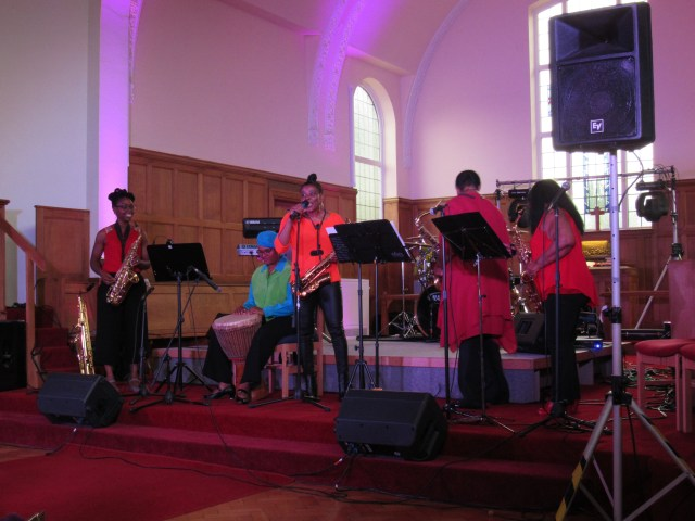 Cafemnee Sax Quartet and Djembe drummer at Millicent Stephenson's 'Not Just Jazz 5'