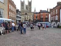 Market stalls outside castle gate