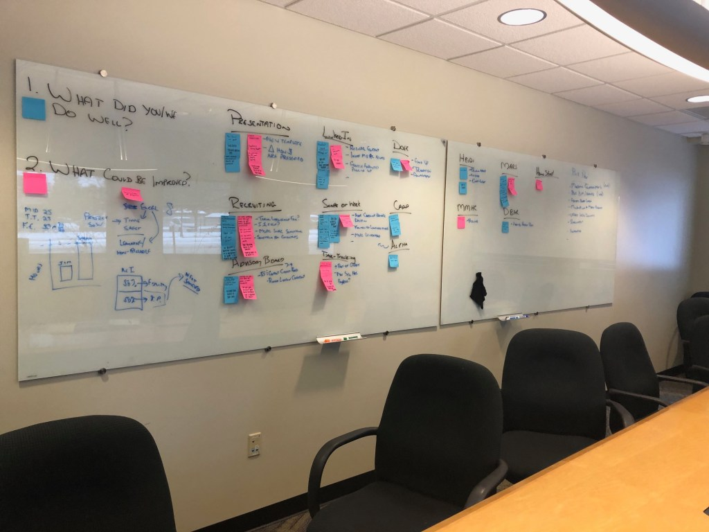 MUPC displays their goals for the semester on a large whiteboard with notes and post-its.