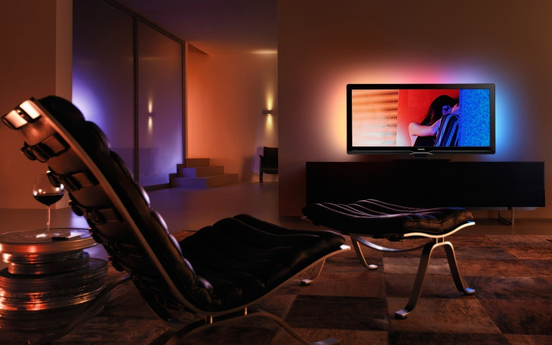 media center living room new york loft style android wallpapers for free