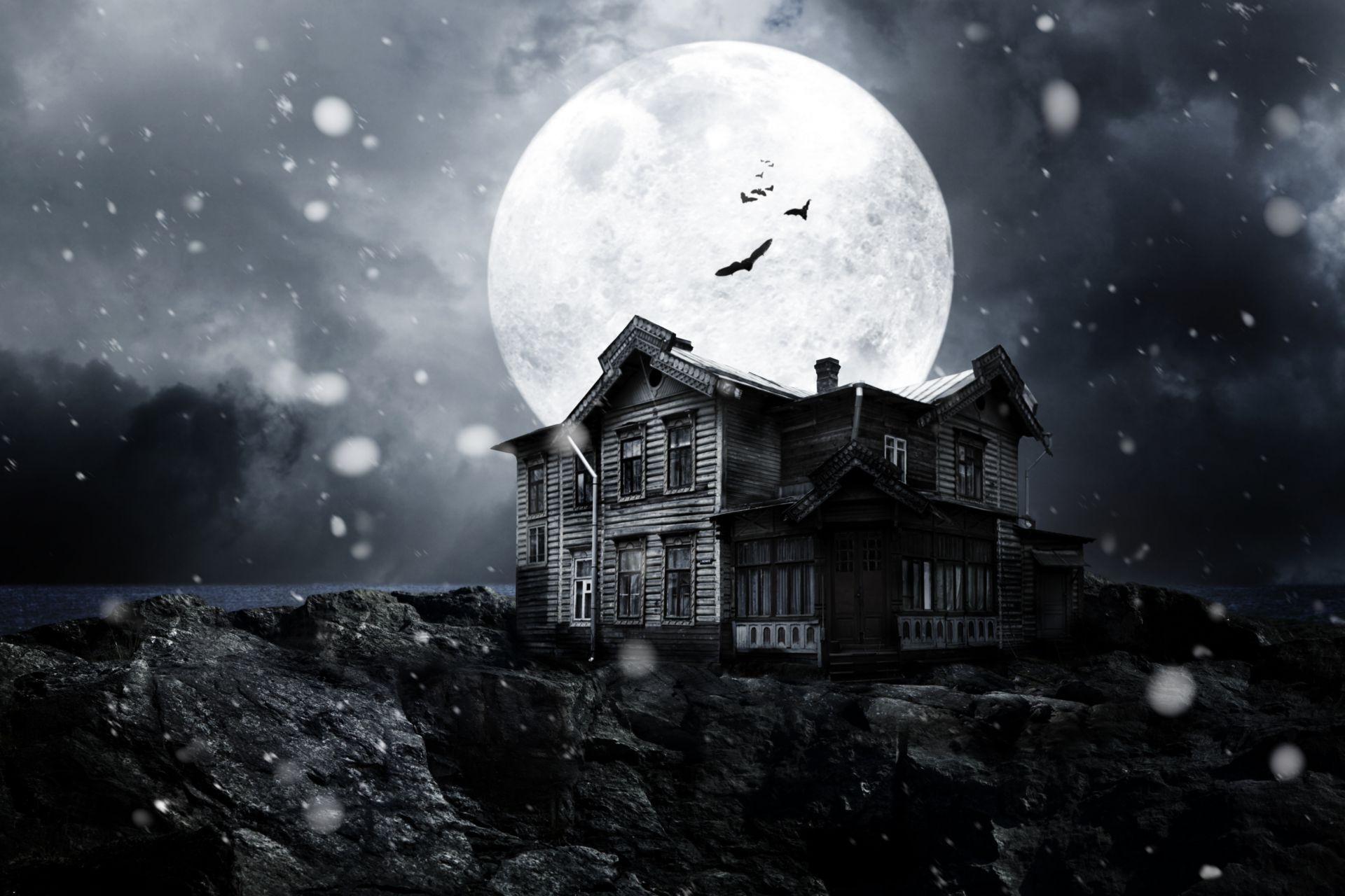 Creepy Anime Girls Wallpaper Haunted House Night Bats Full Moon Midnight Moonlight
