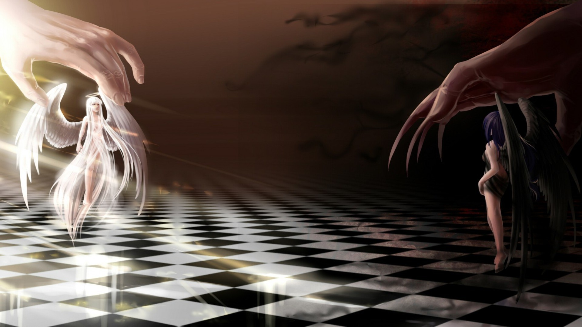 Anime Demon Girls Wallpaper Angel And Demon Are Playing Chess Phone Wallpapers