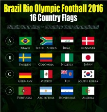 Rio Olympic Football 2016 Country Flag Bendera