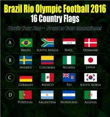 Rio Olympic Football 2016 Country Flag Bendera