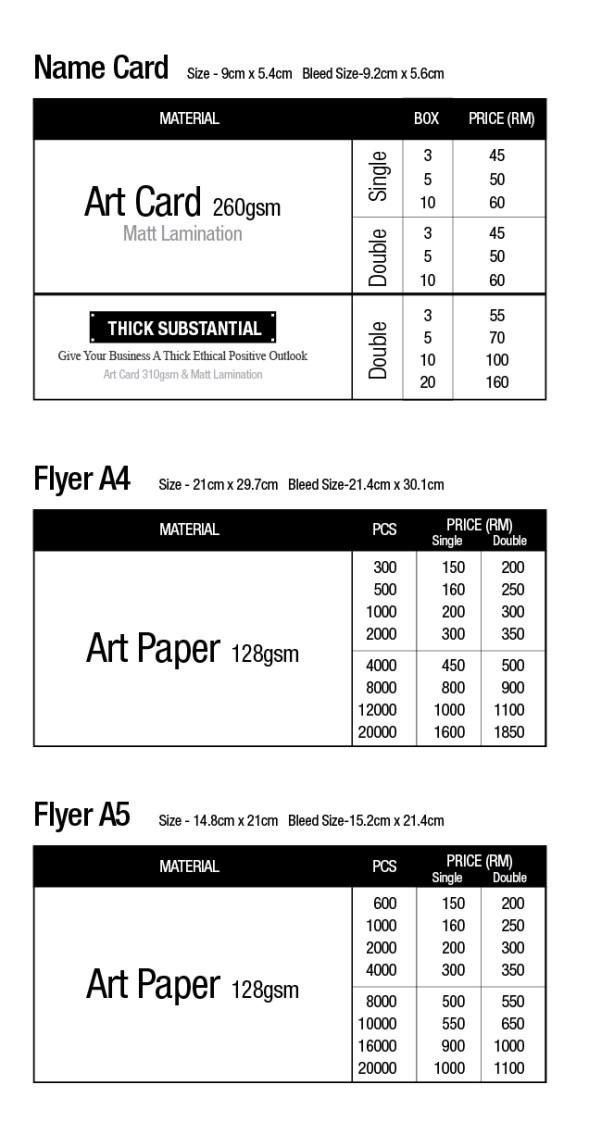 Namecard Flyer Printing KL Malaysia Price List