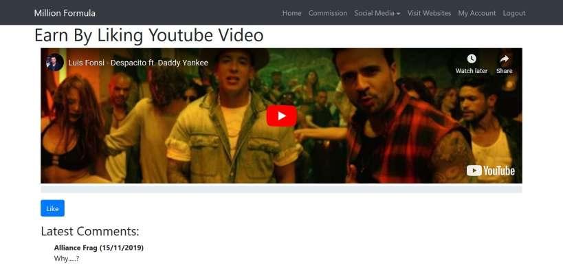 make money liking YouTube videos on millionformula