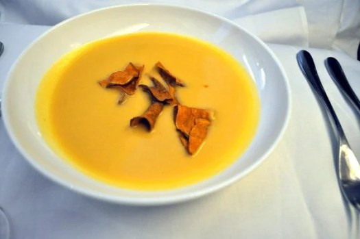 British Airways First Class Review - Butternut Squash Soup