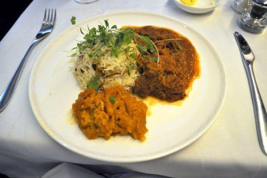 British Airways First Class Review - Lamb masala