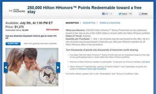 Daily Getaways 2013 Purchase Hilton HHonors Points