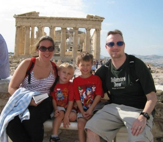 The four of us on our European trip last fall at The Acropolis in Athens
