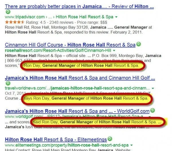 Google Search Reveals Hilton Jamaica's General Manager's Name