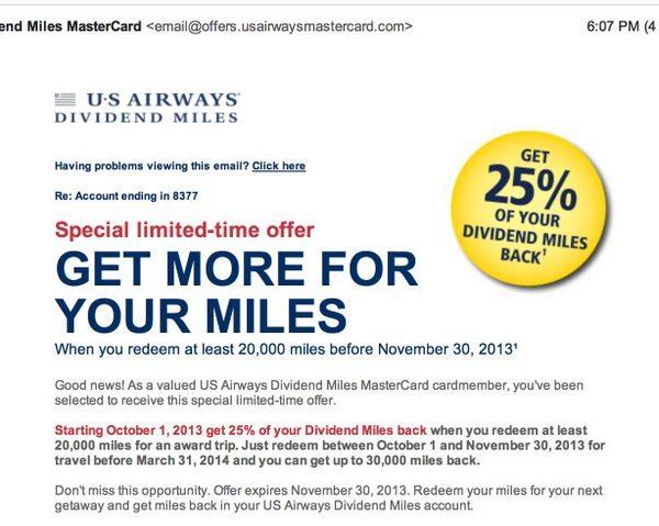 US Air Redeemed Miles Bonus