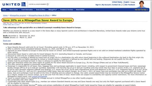 United Discounted Award Travel