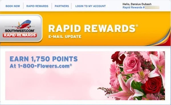 1,750 (~$29) Southwest Companion Pass Points for Valentine's Day Flowers