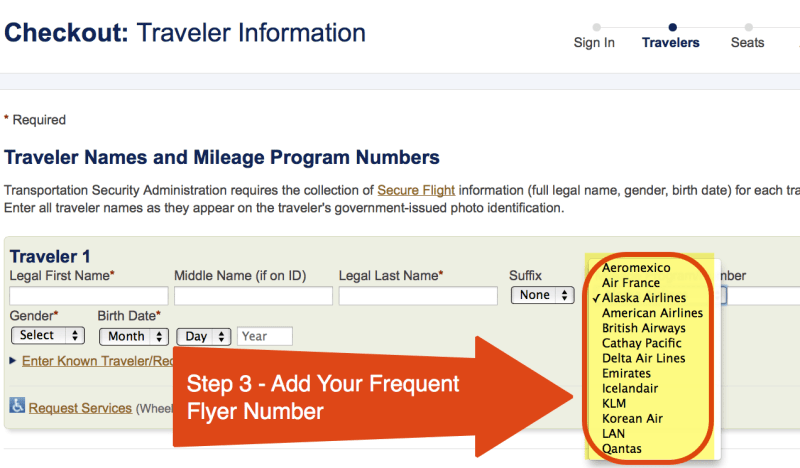 Step 3 - Add Your Frequent Flyer Number