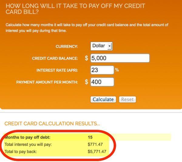 apr credit card calculator