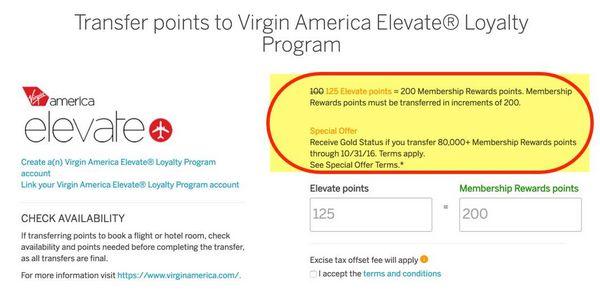 25 AMEX Transfer Bonus To Virgin America Elite Status Offer