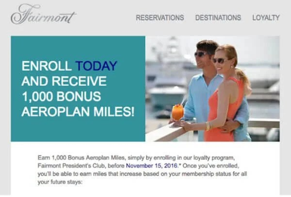 Earn 1,000 Free Aeroplan Miles by Signing-Up for Fairmont Hotels Loyalty Program
