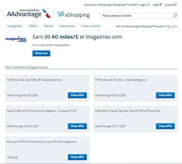 Earn 40 American Airlines Miles per $1 Buying Magazines