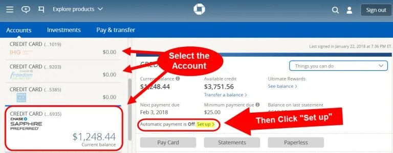 Chase Sapphire Reserve Automatic Payments