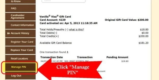 "Click ""Manage PIN"""