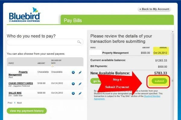 How to use bluebird pay bills to pay rent mortgage credit cards step 6 submit your payment platinumwayz