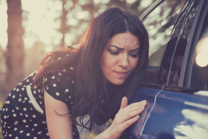 Young Woman Inspecting Car Rental Blemish