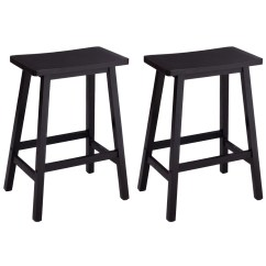 Chair Stool Black White Childs Rocking Set Of 2 Bar Wood Seat Counter Pub Bistro Kitchen
