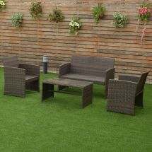4 Pcs Brown Wicker Cushioned Rattan Patio Set Garden Lawn