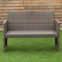 4 Pcs Brown Wicker Cushioned Rattan Patio Set Garden Lawn