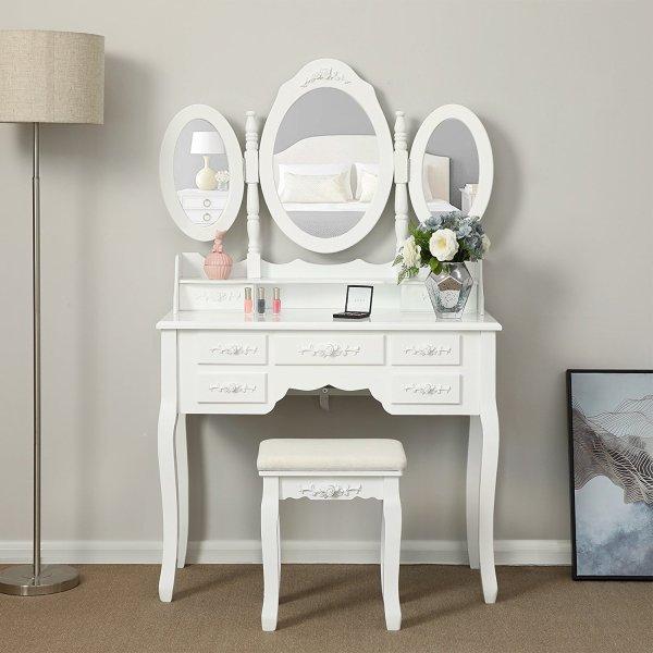 Tri-folding Mirror Vanity Set Makeup Table Bedroom 7