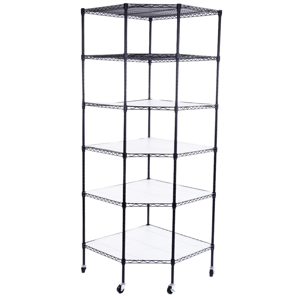 6 Layer Heavy Duty Wire Steel Corner Shelf Unit Garage
